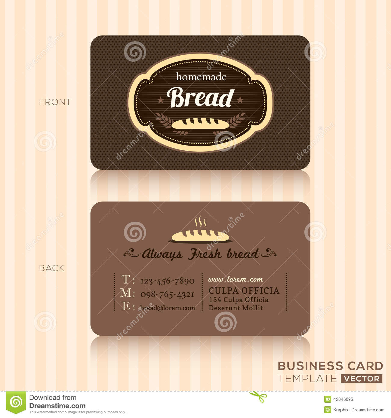 vintage business card for bakery shop stock vector illustration of chocolate coffee 42046095. Black Bedroom Furniture Sets. Home Design Ideas