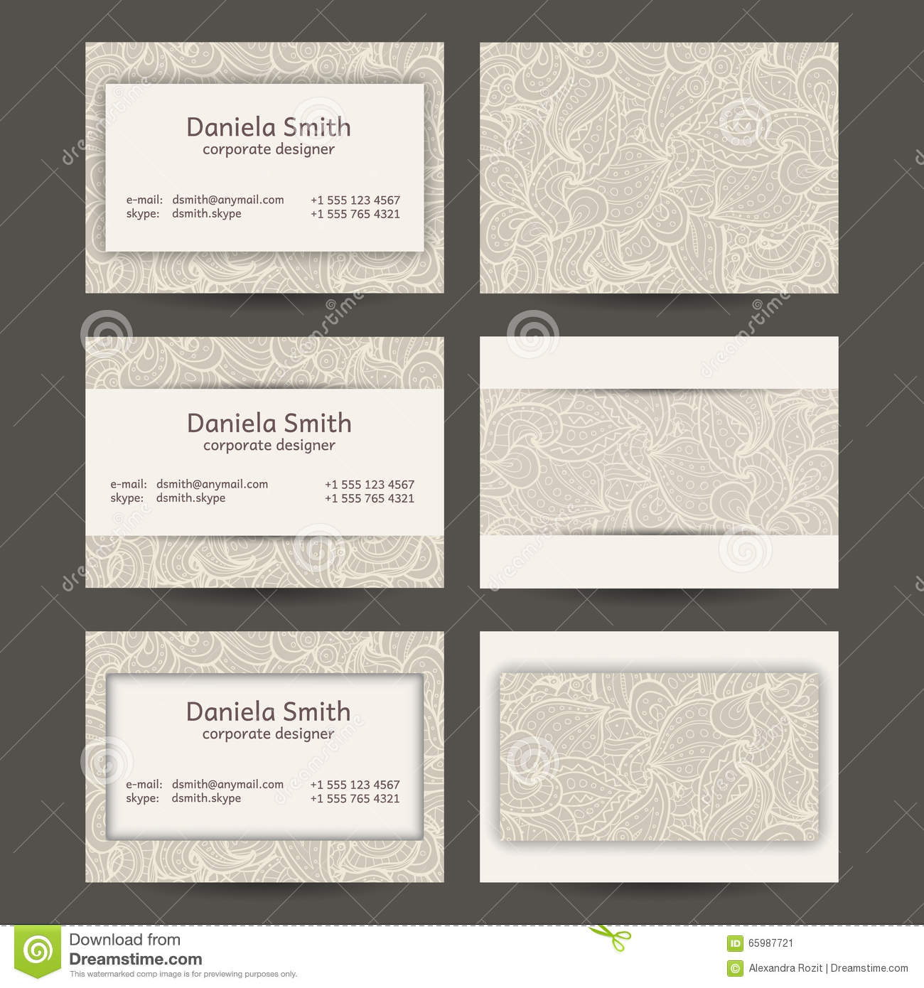 Vintage Business Cards Templates Stock Vector Image