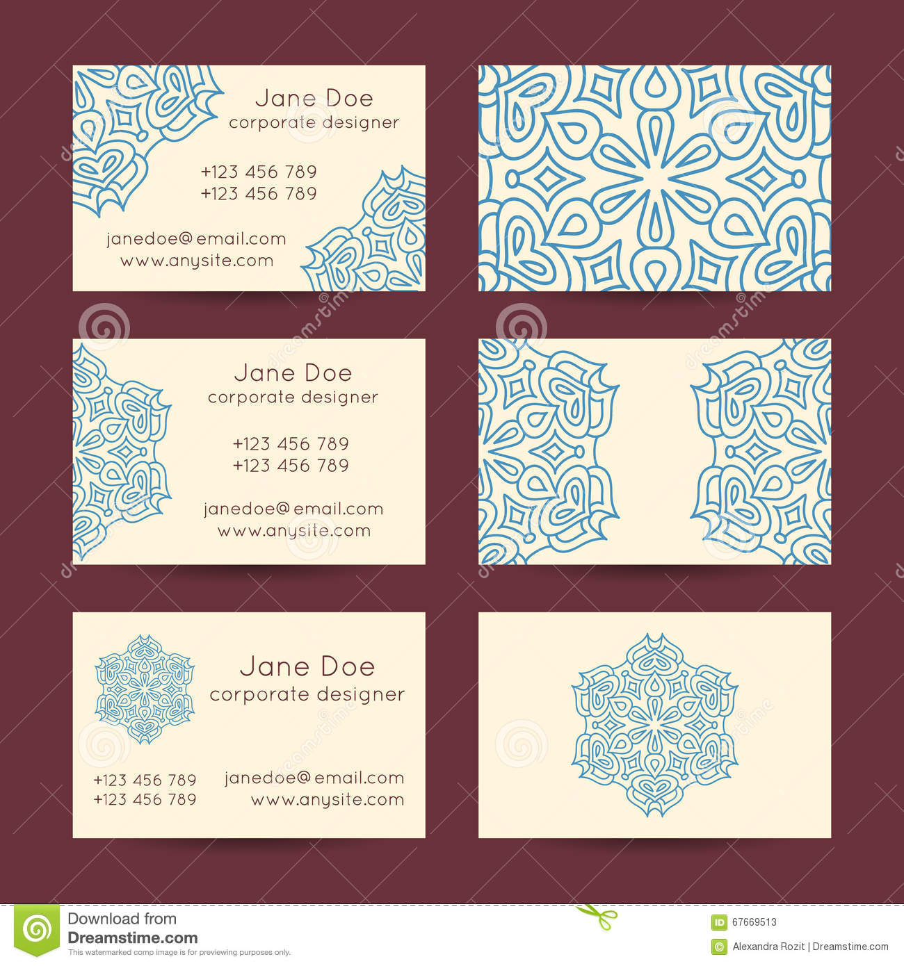 Vintage Business Cards Templates Stock Vector - Image: 67669513