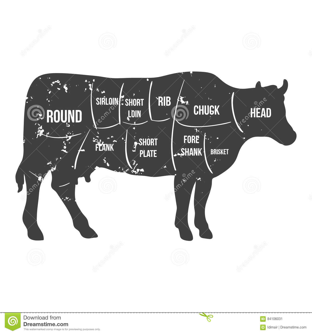 diagram of beef brisket vintage butcher cuts of beef diagram vector stock vector
