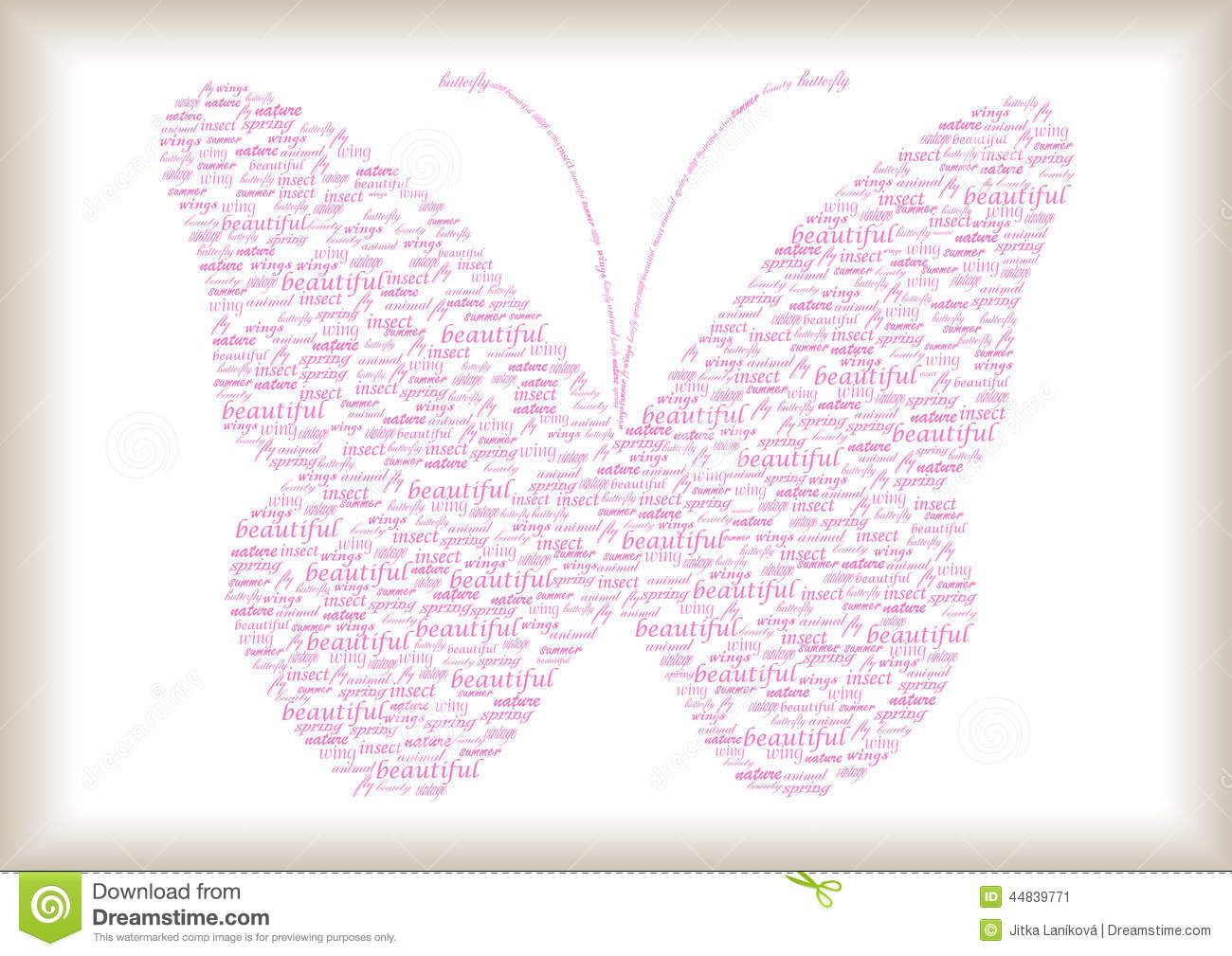 Vintage Butterfly Made Of Words Stock Illustration - Illustration of ...