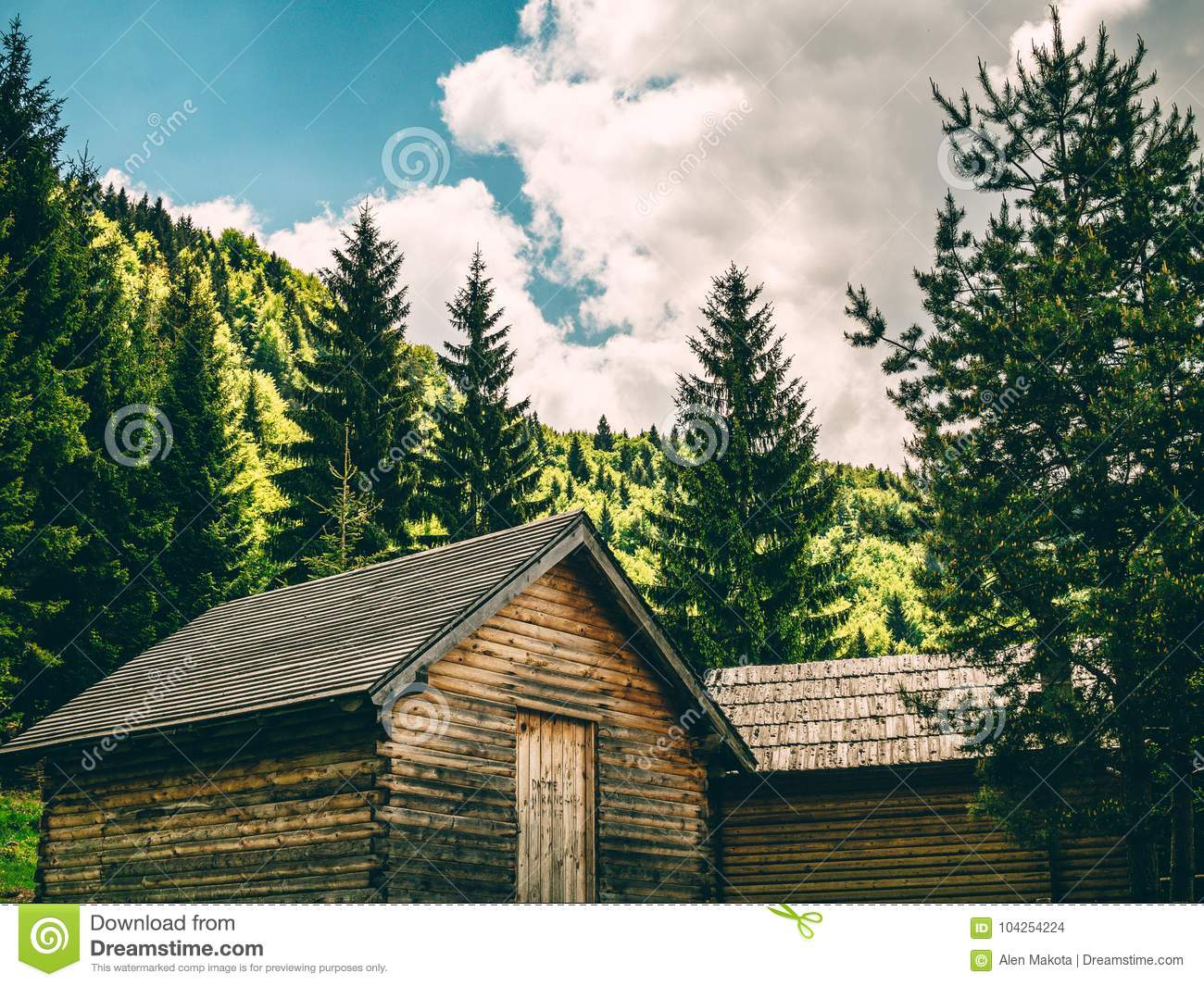 Vintage Cabins In The Woods Stock Photo Image Of House Sitgreaves
