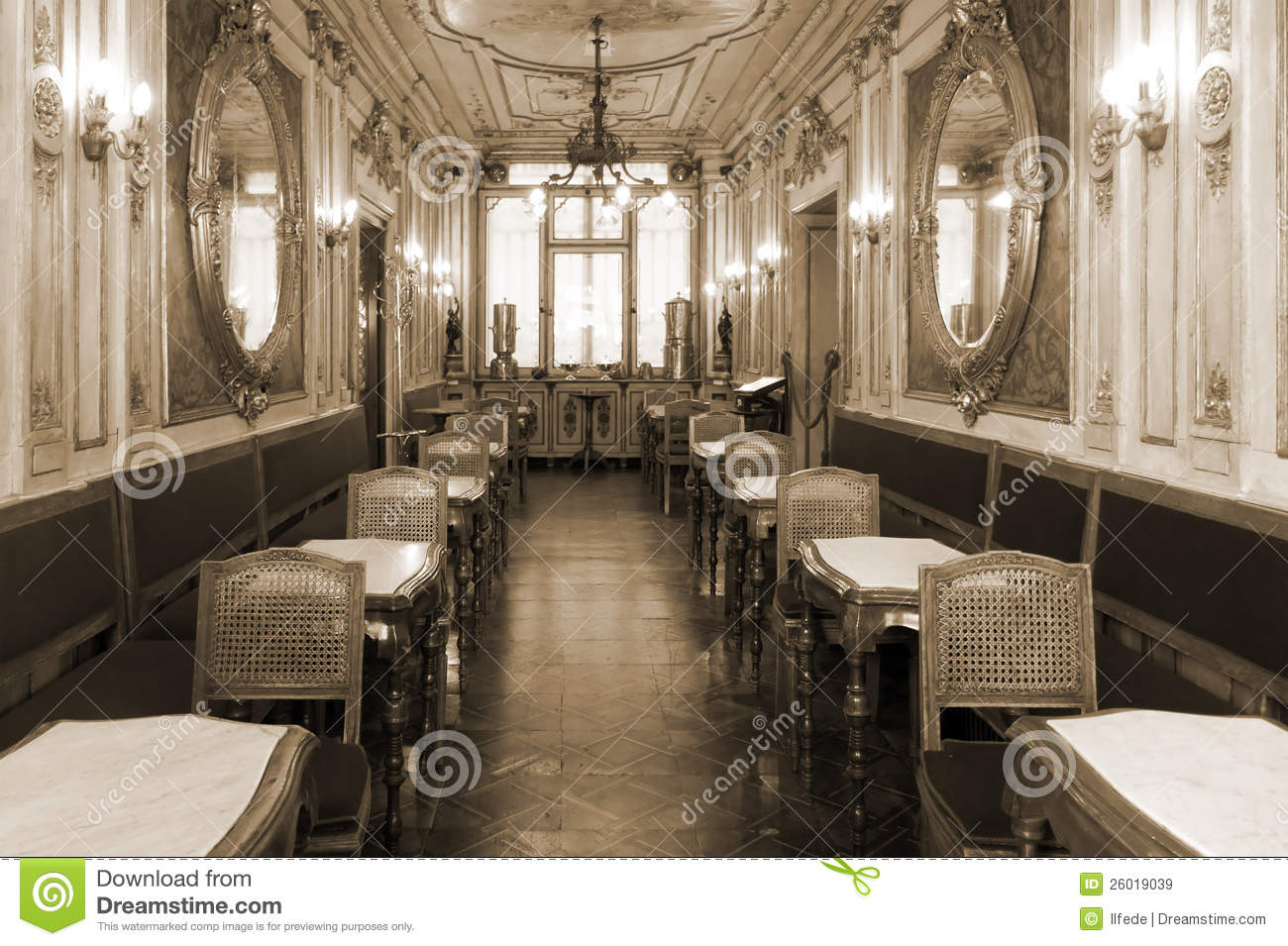 Vintage Cafe Interior With Wooden Furniture Stock Image
