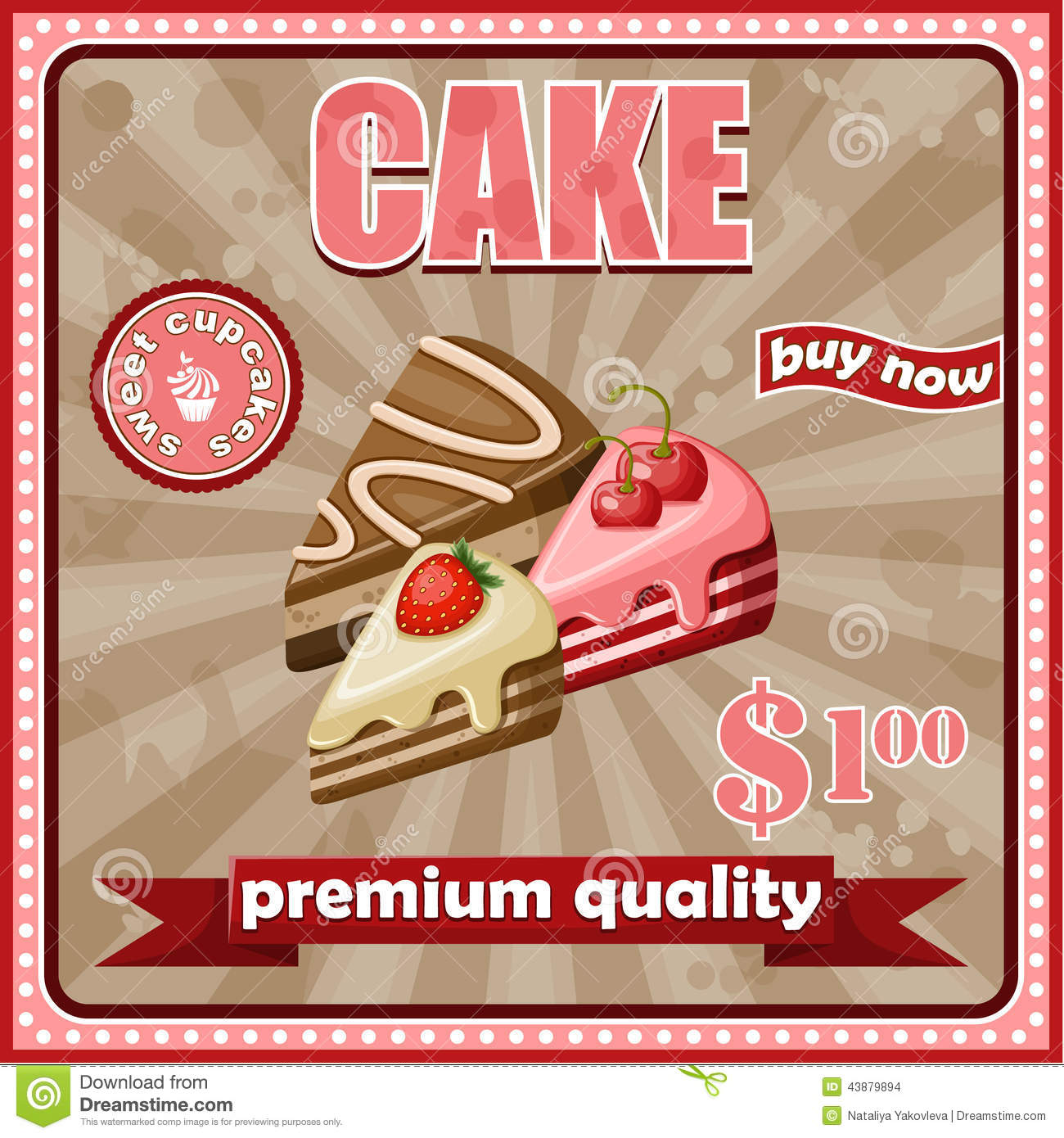 Vintage Cake Poster Stock Vector Image Of Birthday