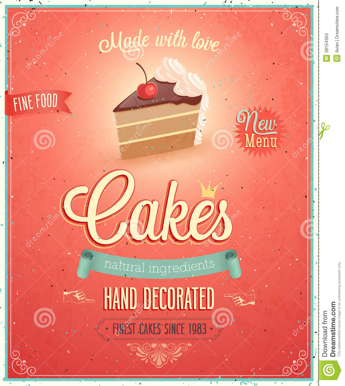 Vintage Cakes Poster Stock Vector Illustration Of Decor