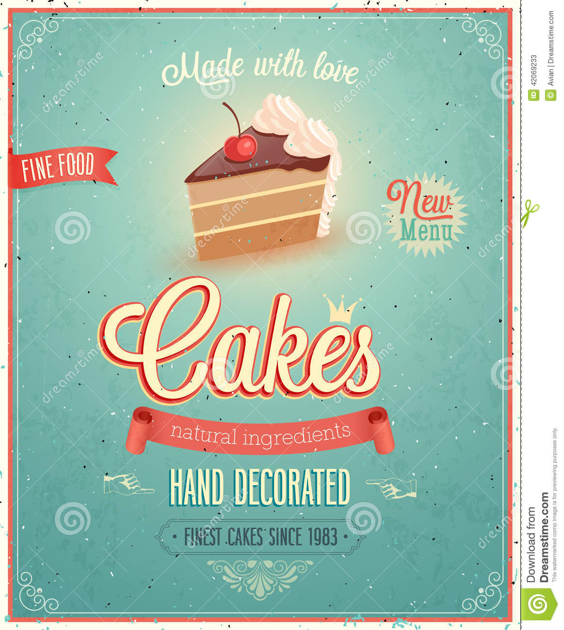 Vintage Cakes Poster Stock Vector Image
