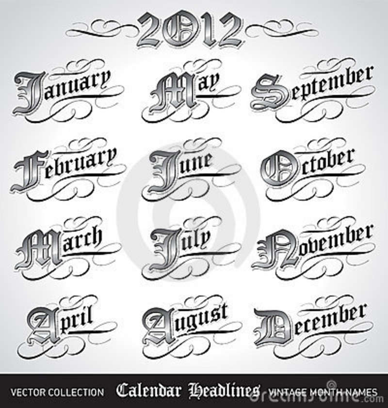 Calendar Vintage Vector : Vintage calendar month titles vector royalty free stock