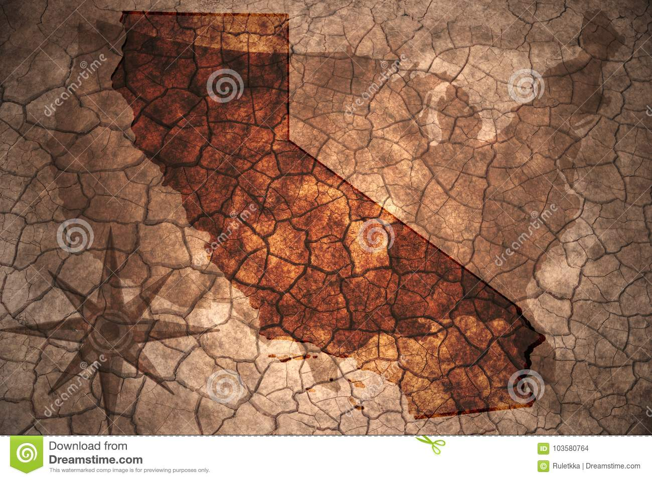 Vintage California State Map Stock Photo - Image of picture, paper ...