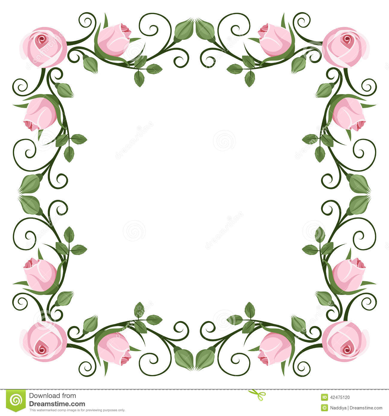 Vintage calligraphic frame with pink roses vector stock for Paris orange card