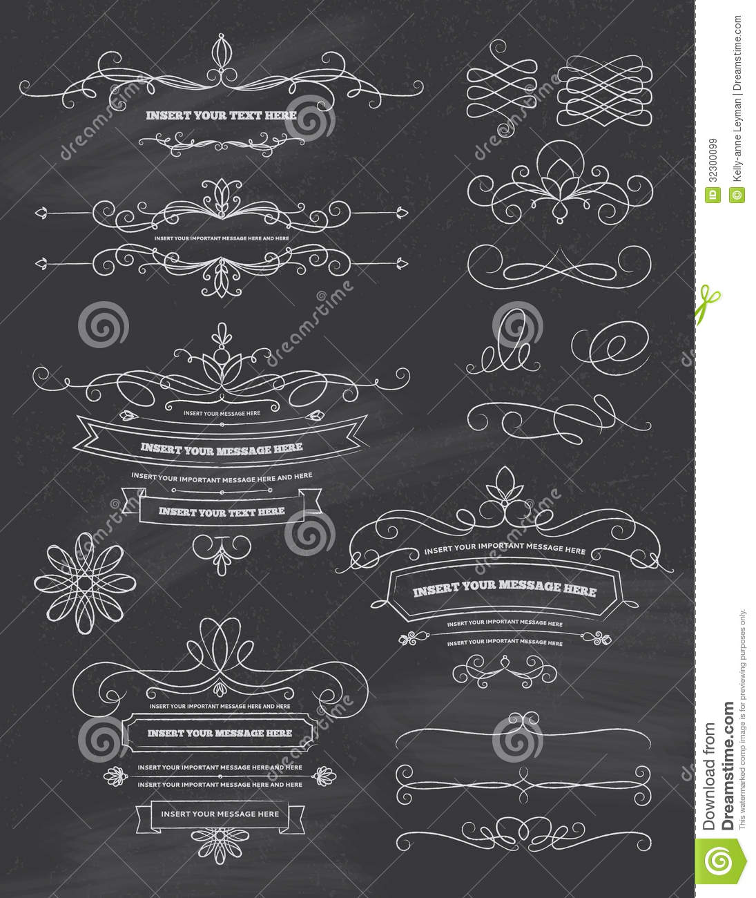 Vintage Calligraphy Chalkboard Design Elements Royalty