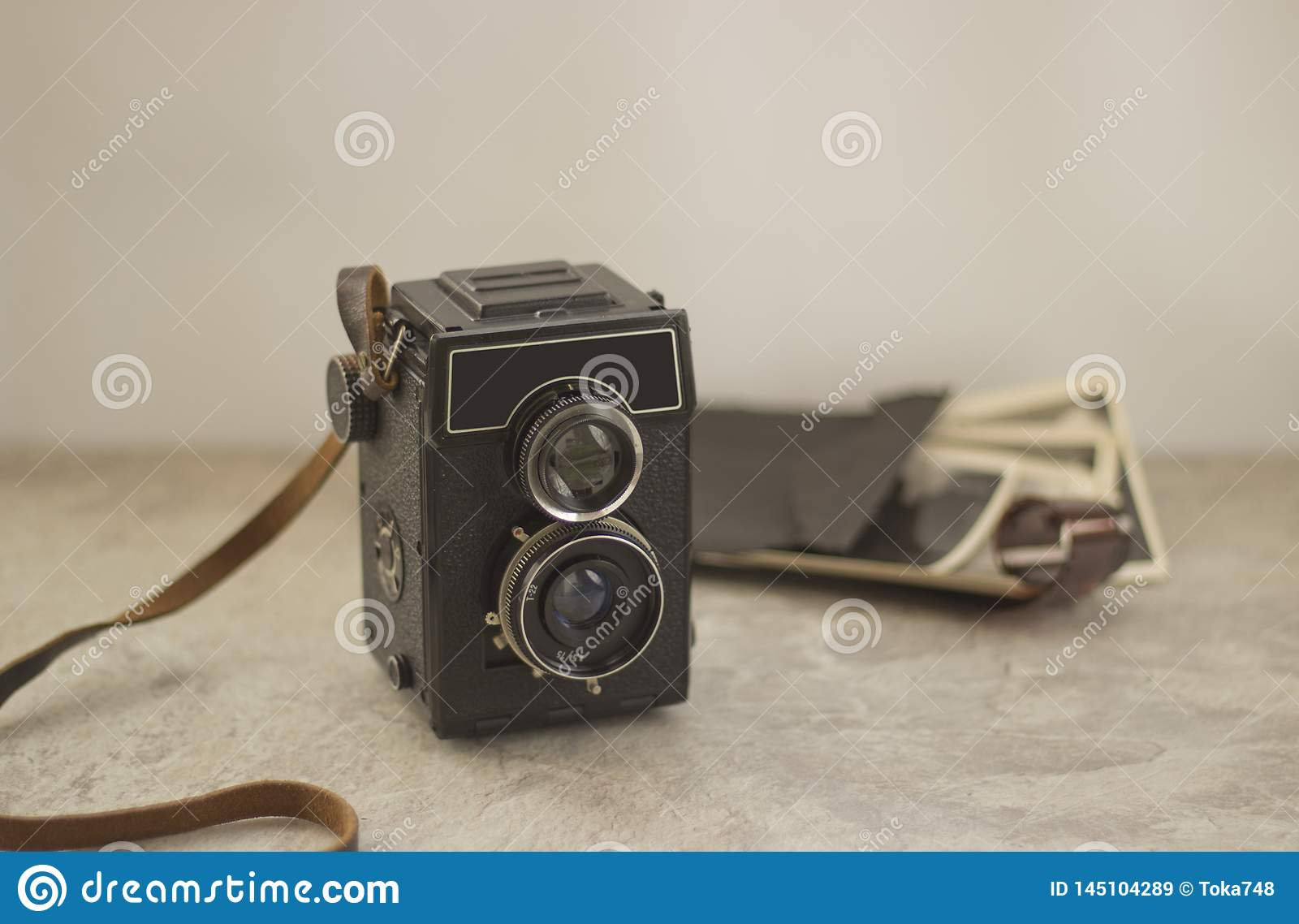 Vintage camera on the table