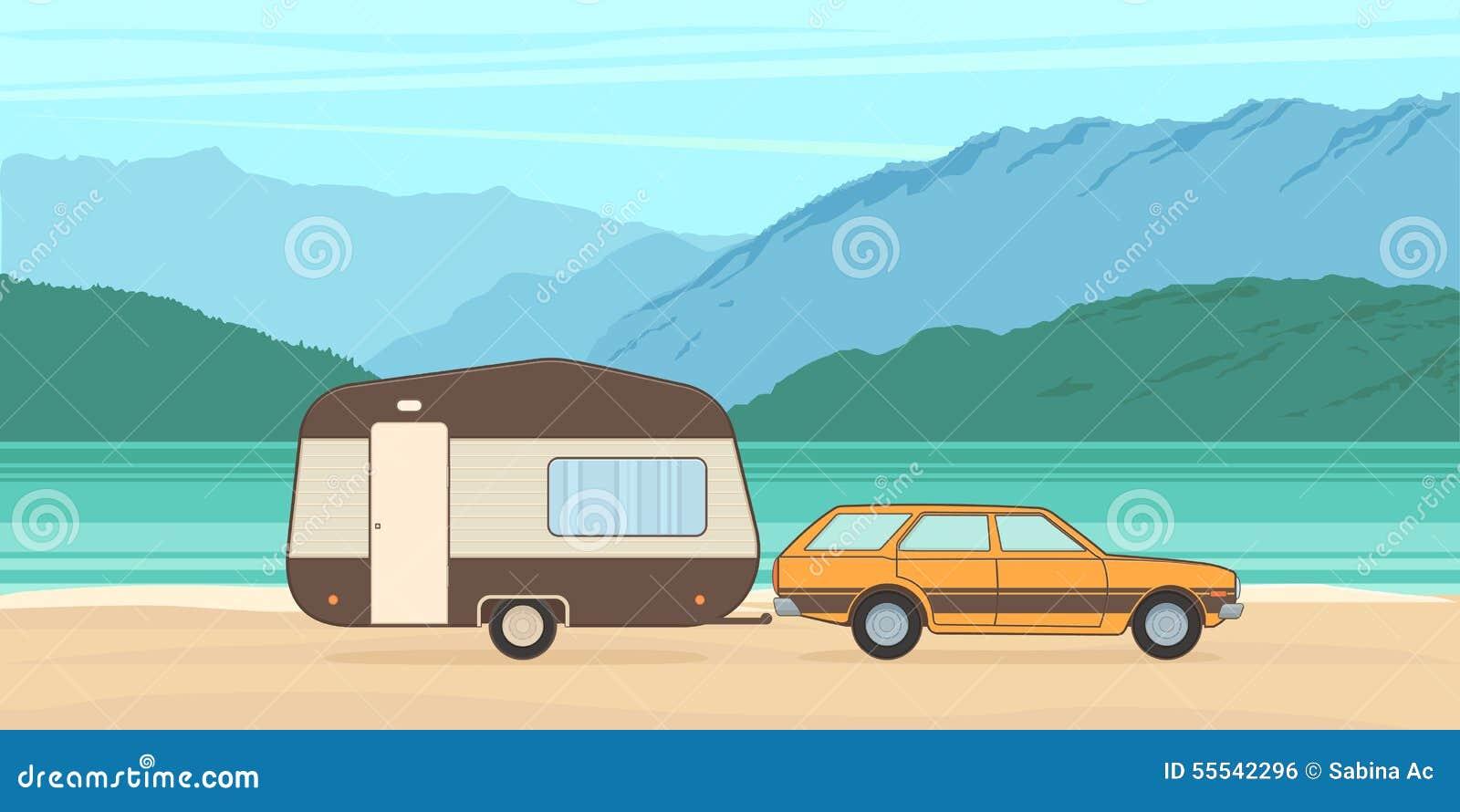 vintage camping caravan and car stock vector image 55542296. Black Bedroom Furniture Sets. Home Design Ideas