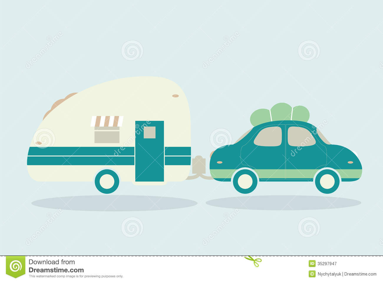 Vintage Camping Cars For All Family Car With Trailer Illustrati