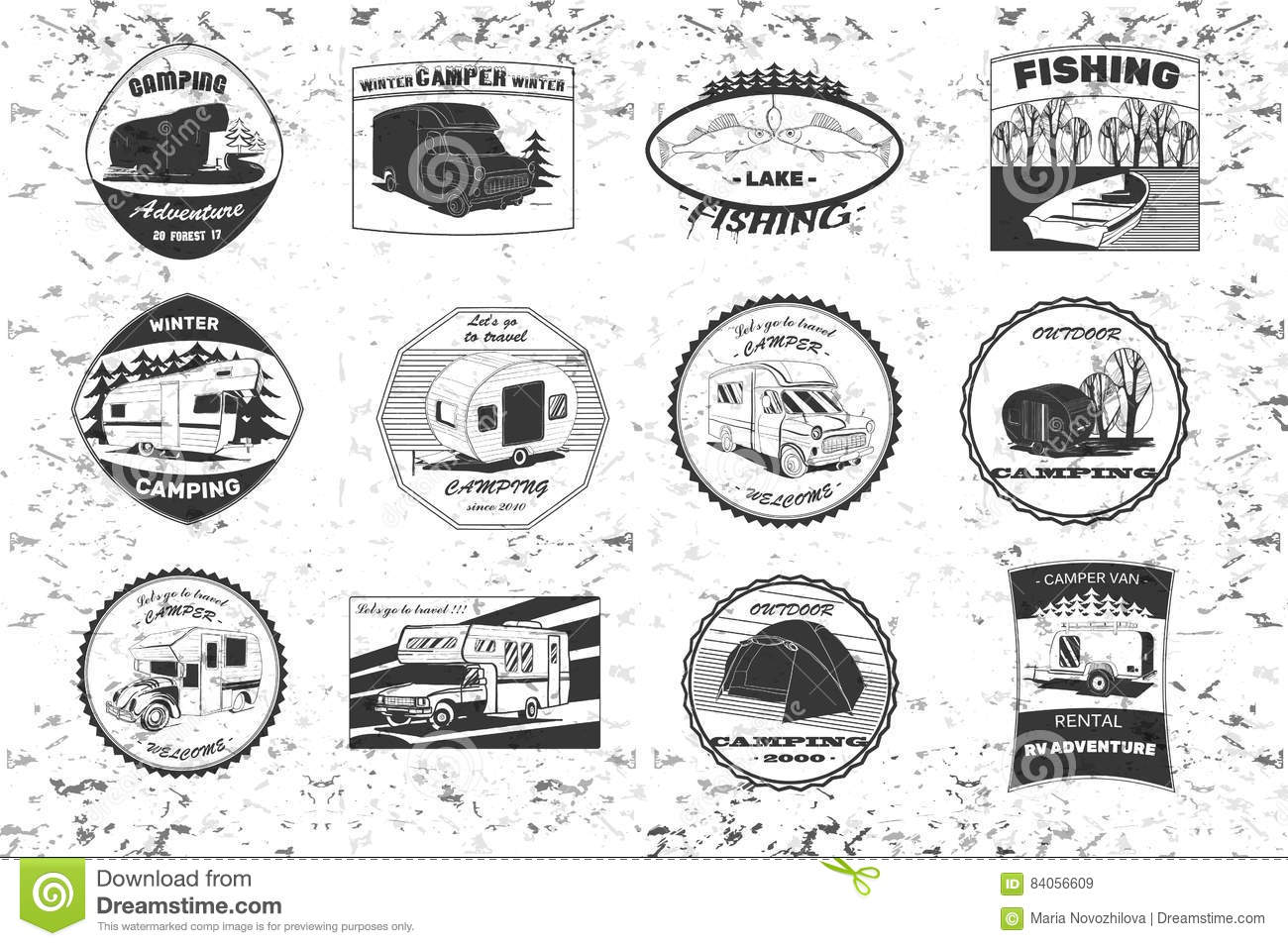 Vintage Camping And Outdoor Adventure Emblems Logos Badges Equipment Camp Trailer In The Forest