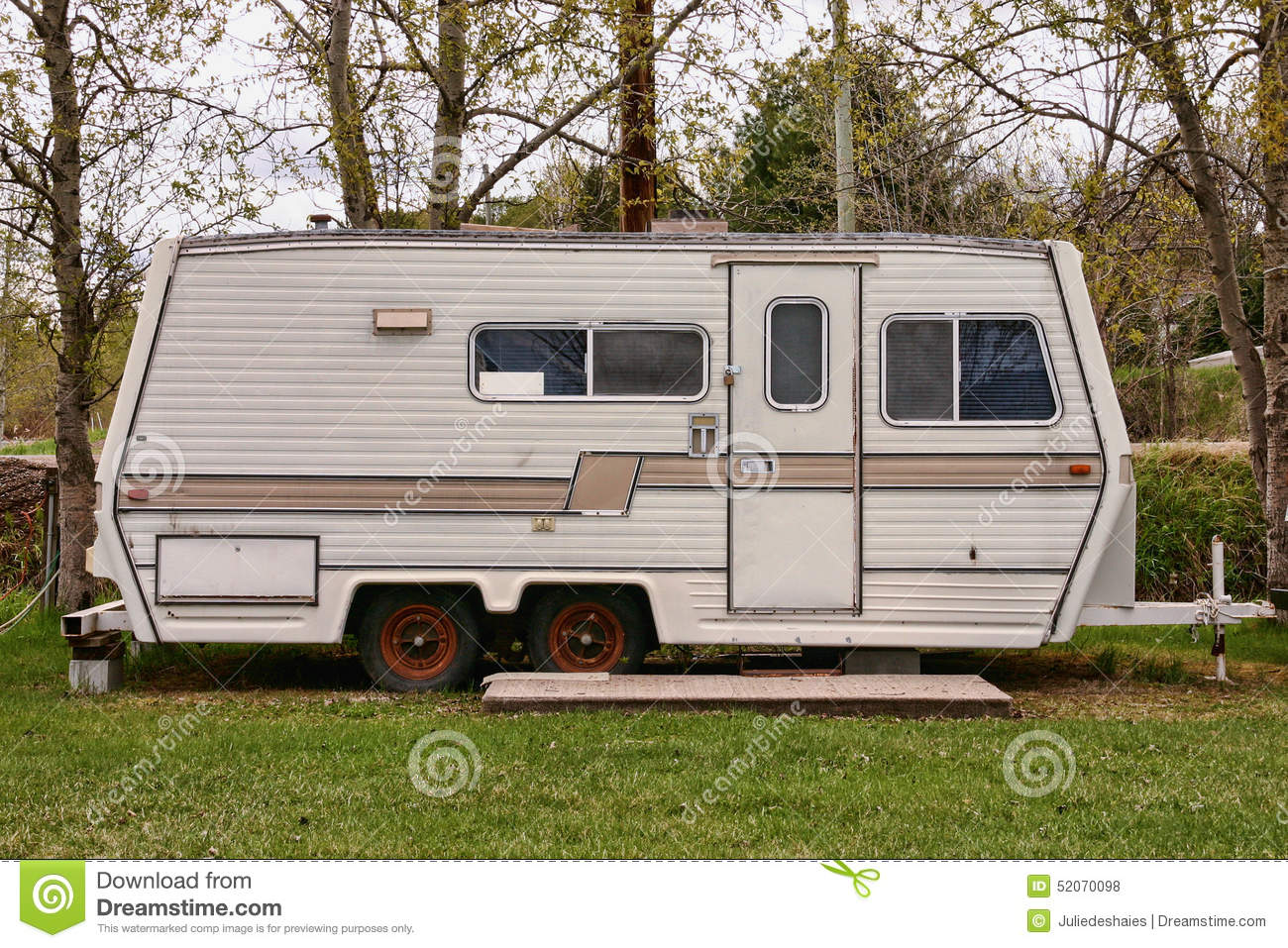 Vintage camping trailer stock photo. Image of traveling ...