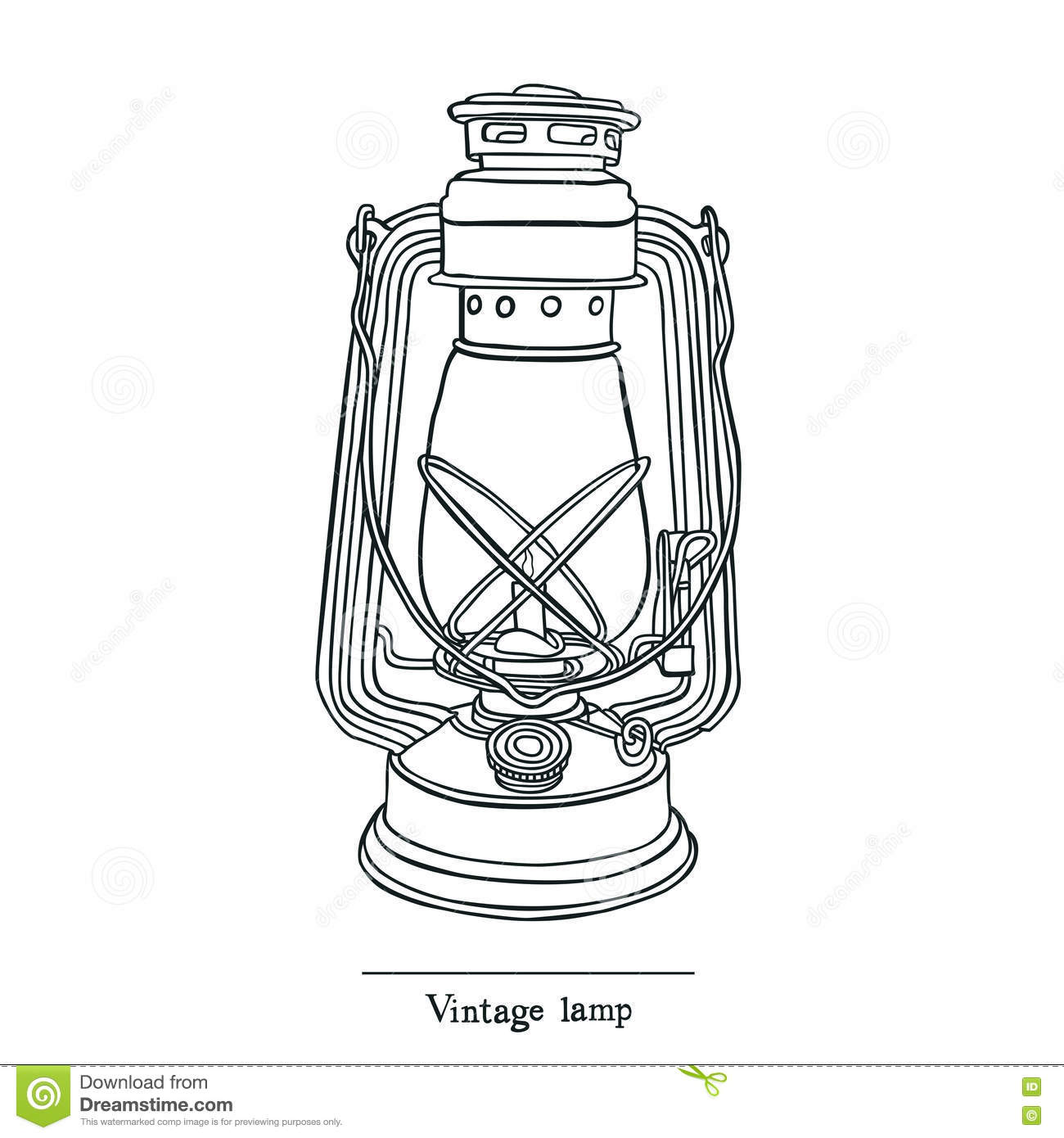 Vintage Candle Lamp Line Style Stock Vector - Illustration of ... for candle lamp drawing  51ane