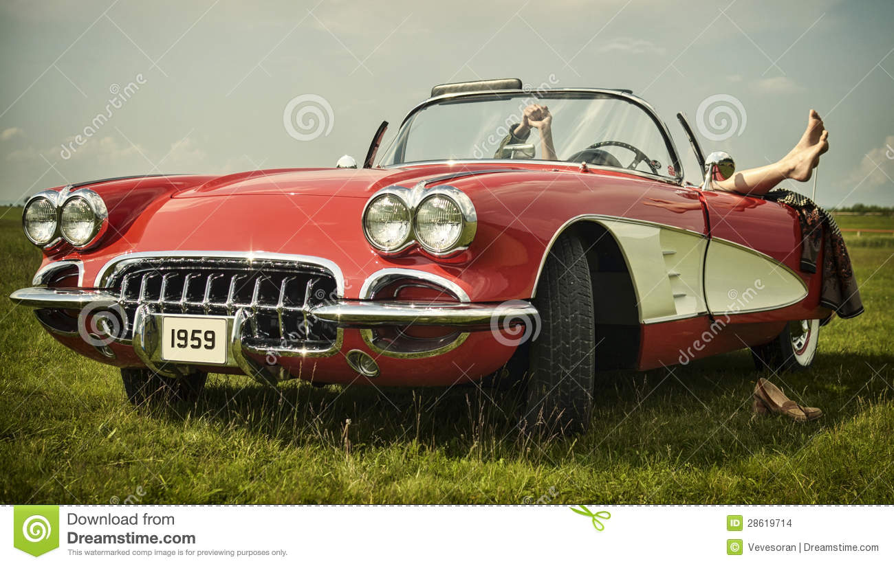 Download Vintage car stock photo. Image of arrival, antique, grass - 28619714