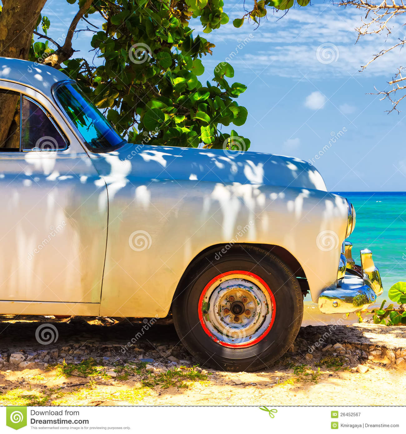 Vintage Car At A Beach In Cuba Royalty Free Stock Photography