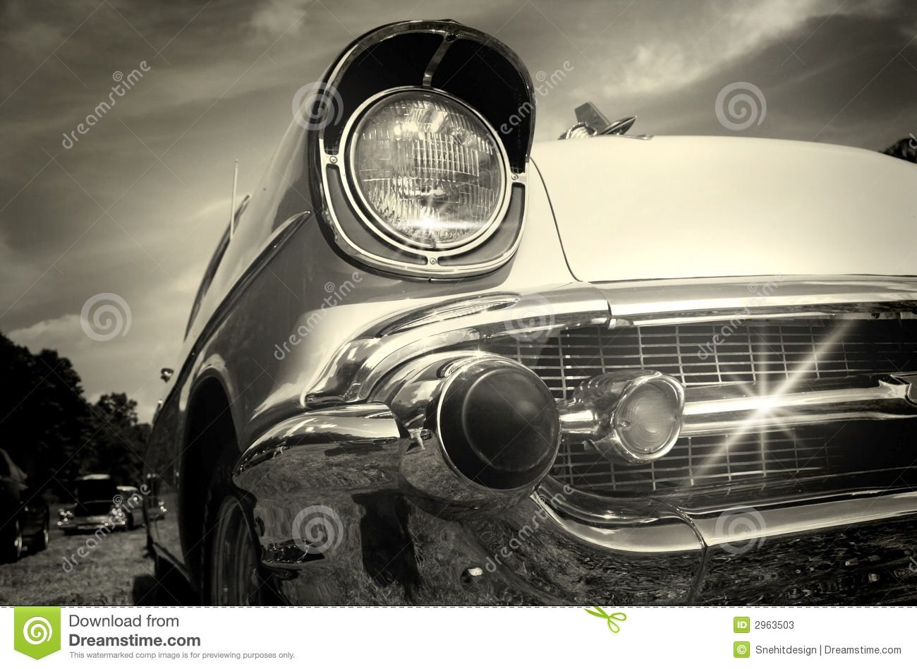 Vintage Car In Black And White Stock Image - Image: 2963503