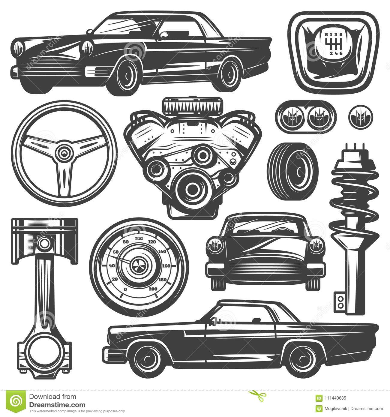 Vintage Car Components Collection Stock Vector - Illustration of ...