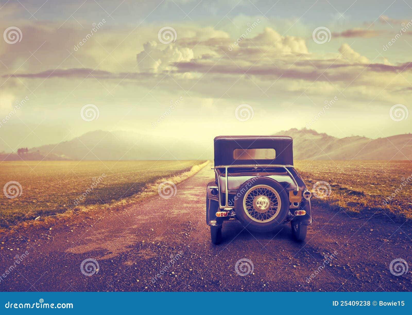 Vintage Car on a Desert Road