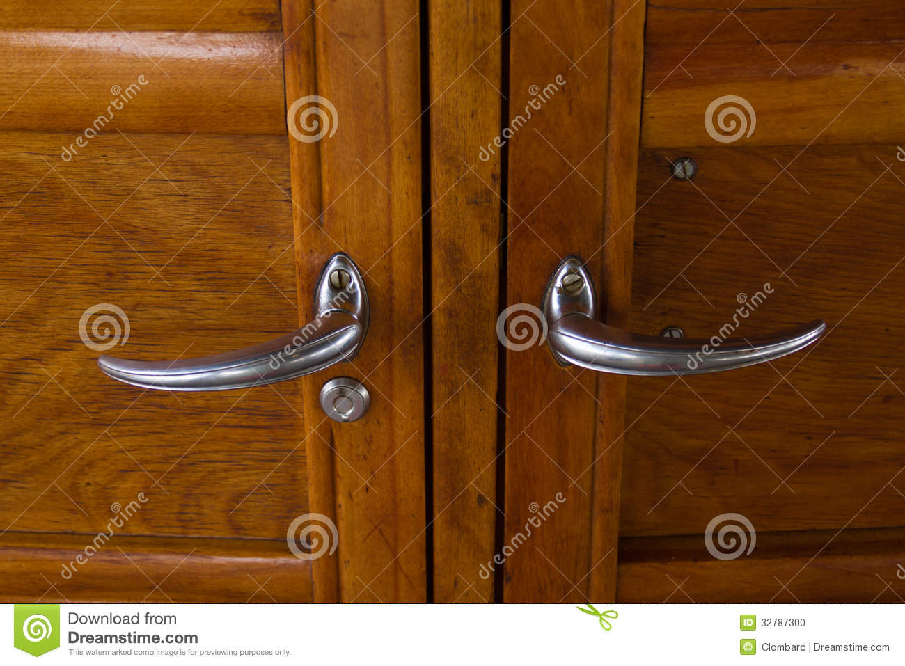 Vintage Car Door Handles Stock Photo