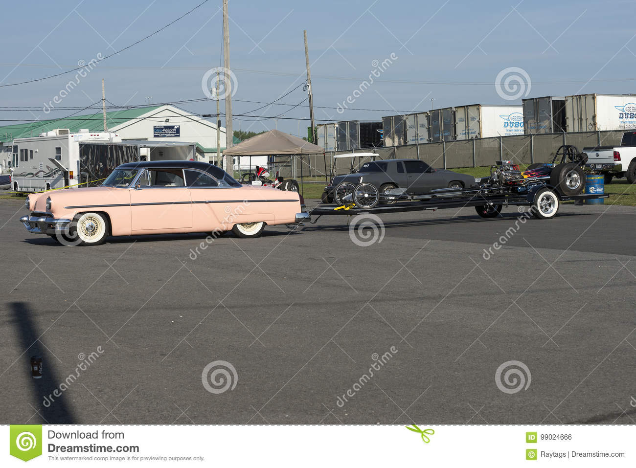 Vintage Car With Dragster On The Trailer Editorial Photo - Image of ...