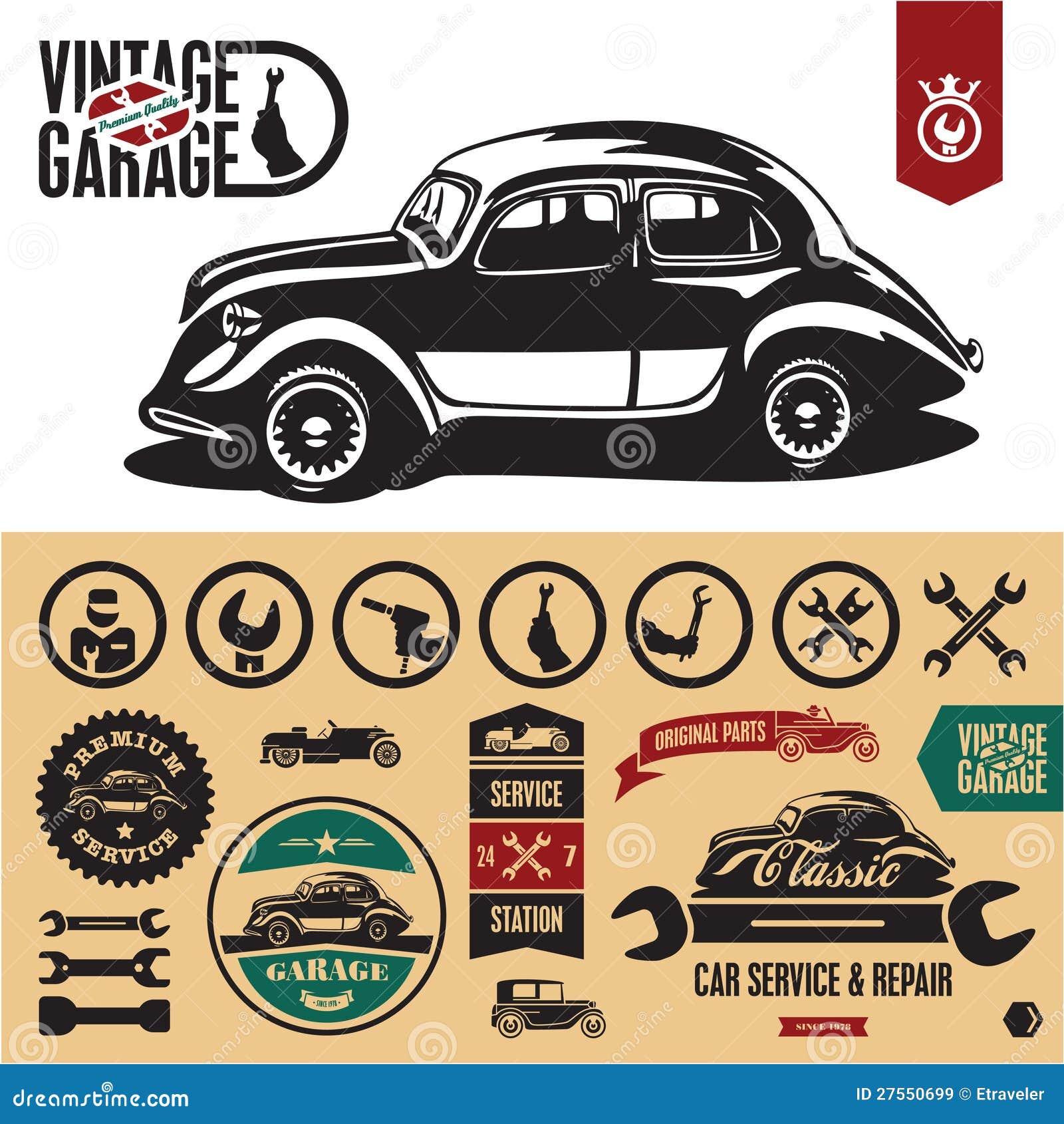 Vintage Car Garage Labels, Signs Stock Vector - Illustration of ...