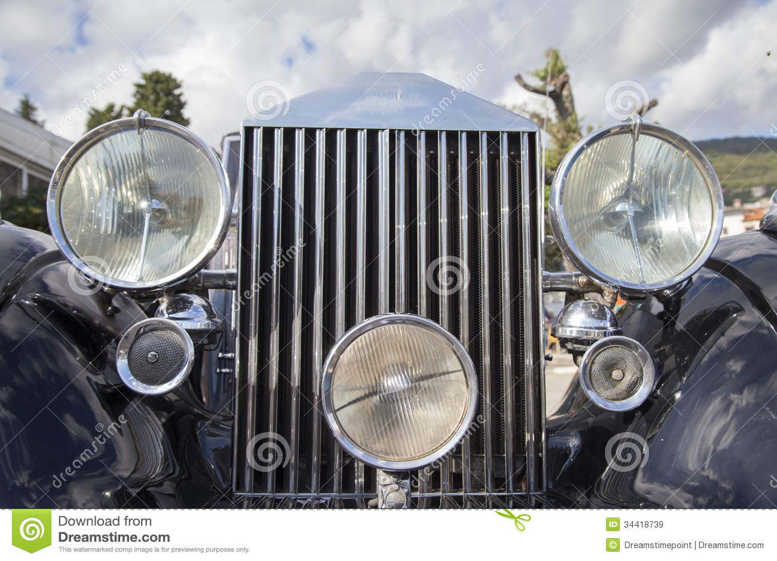 Antique Automobile Headlamps : Vintage car headlights stock image of retro