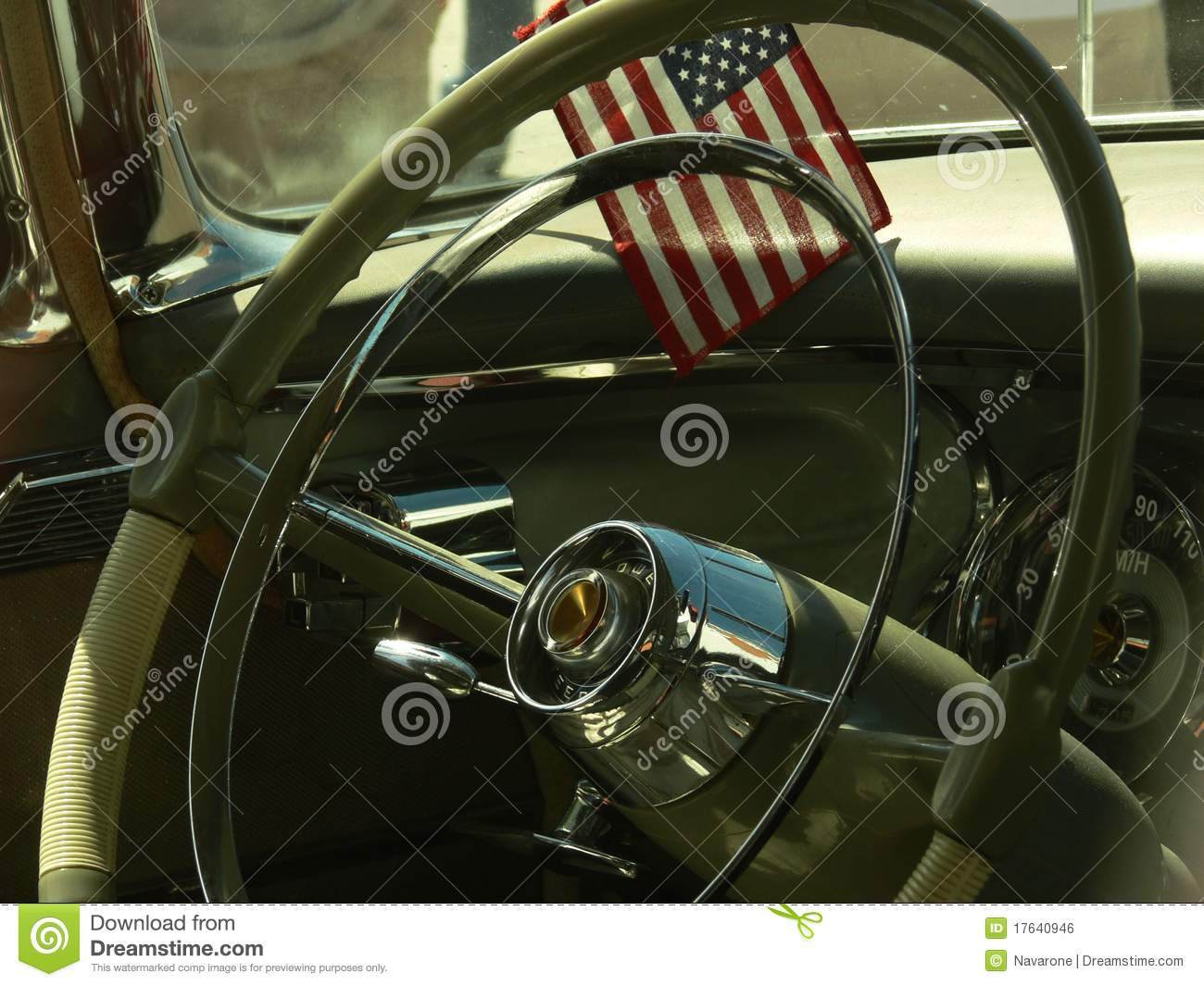 vintage car interior with flag royalty free stock image image 17640946. Black Bedroom Furniture Sets. Home Design Ideas
