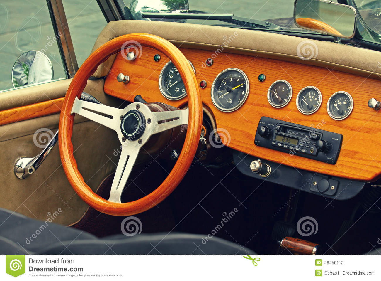 vintage car interior stock photo image of automobile 48450112. Black Bedroom Furniture Sets. Home Design Ideas