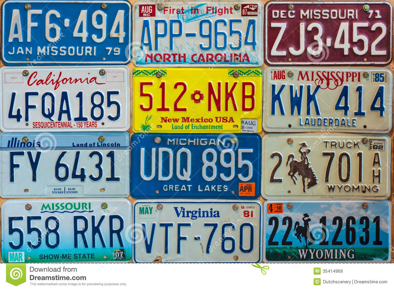 Vintage Car License Plates On A Wall Editorial Stock Image - Image ...