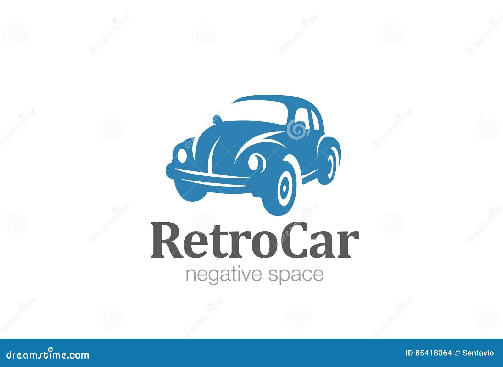 Vintage Car Logo Design Negative Space. Stock Vector - Image: 85418064