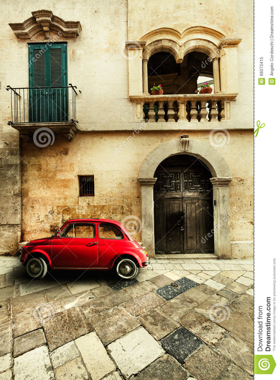 Vintage Car Old Italian Scene Stock Photo Image 66073415