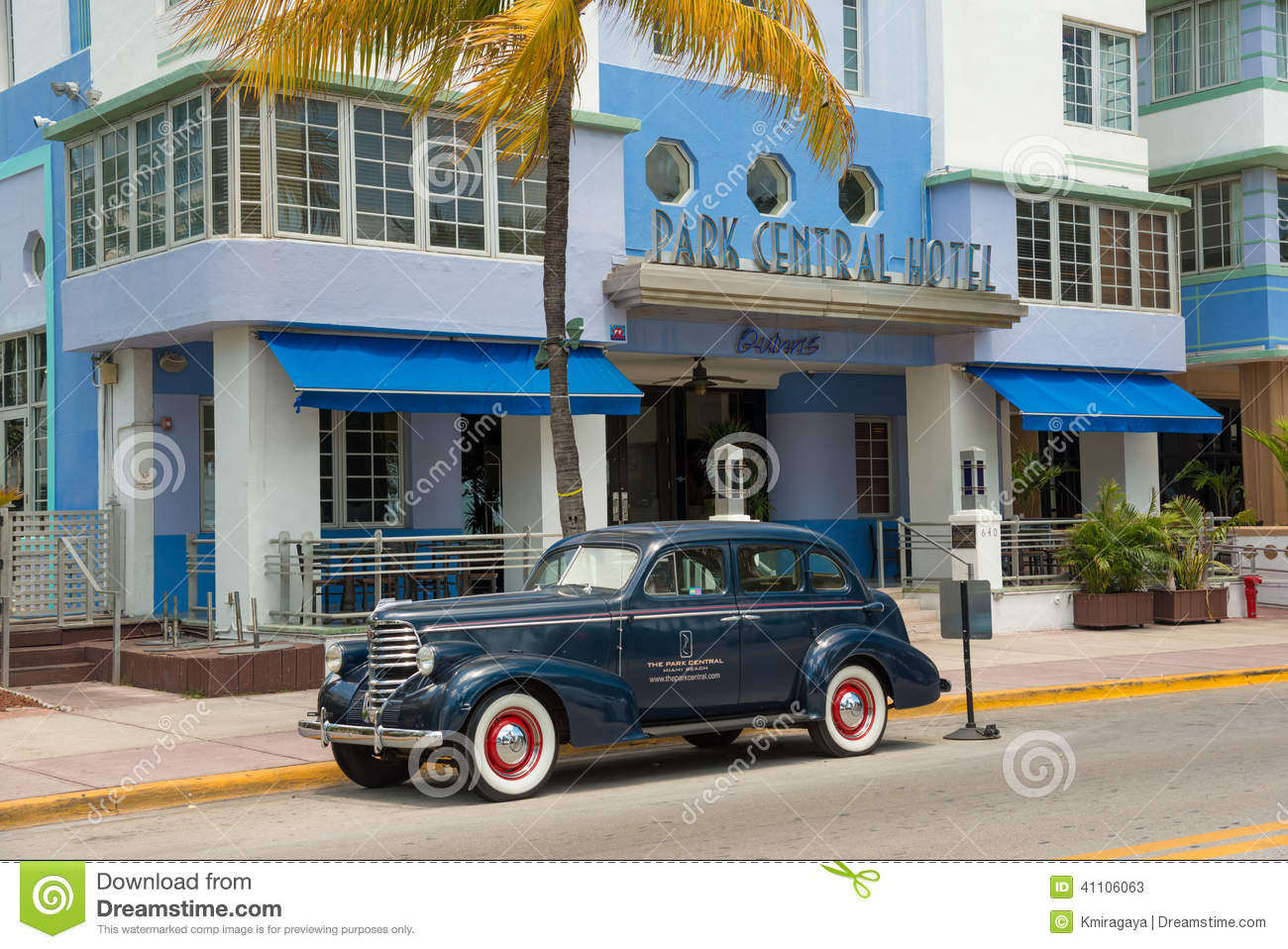 Vintage Car Parked At Ocean Drive In South Beach Miami