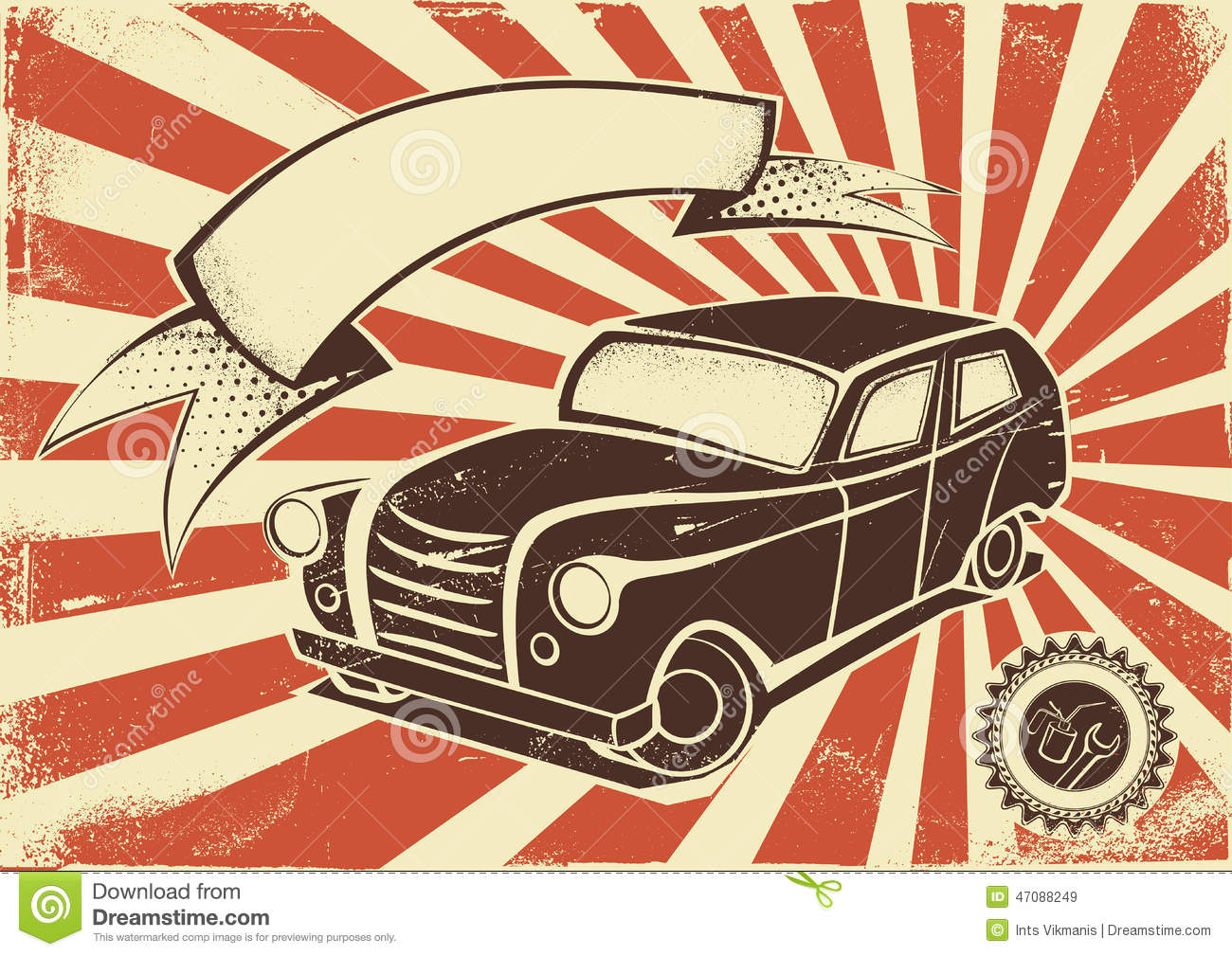 Vintage Car Poster Template Stock Vector - Image: 47088249