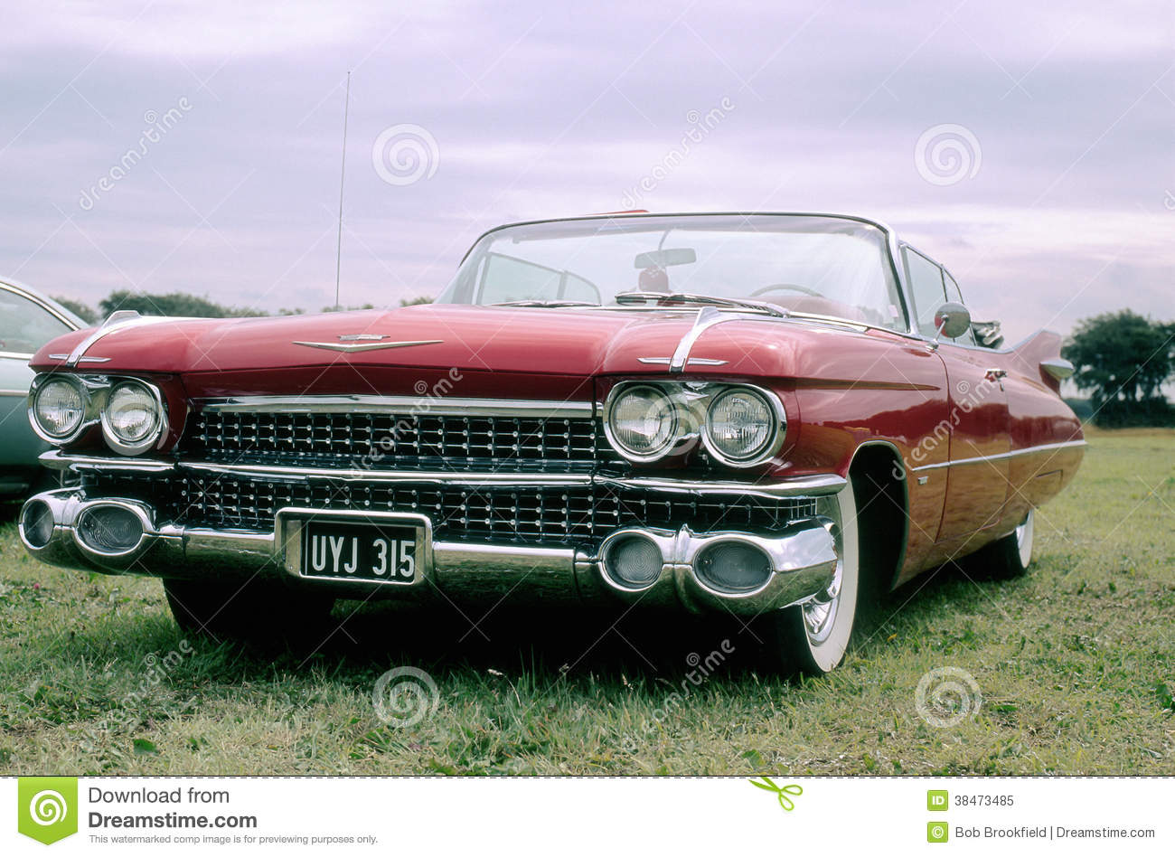 Vintage car (red Cadillac convertible)