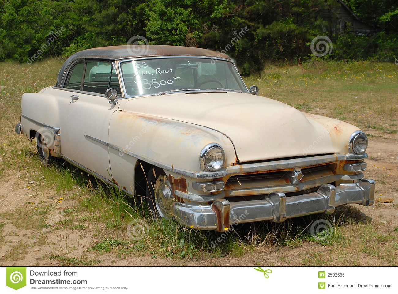 Vintage Car For Sale stock photo. Image of bumper, grill - 2592666