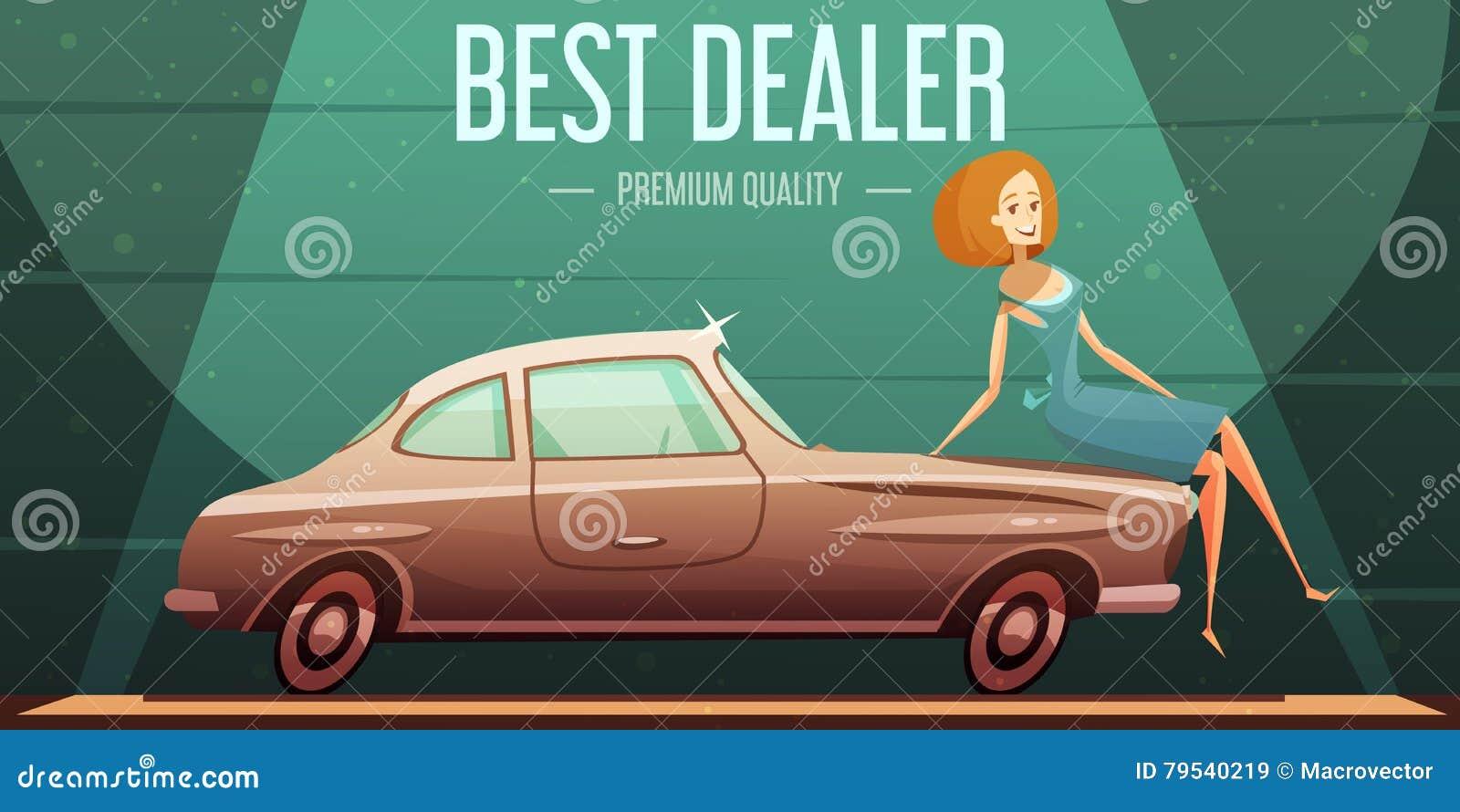 Vintage Car Sale Dealer Retro Poster Stock Vector - Image: 79540219