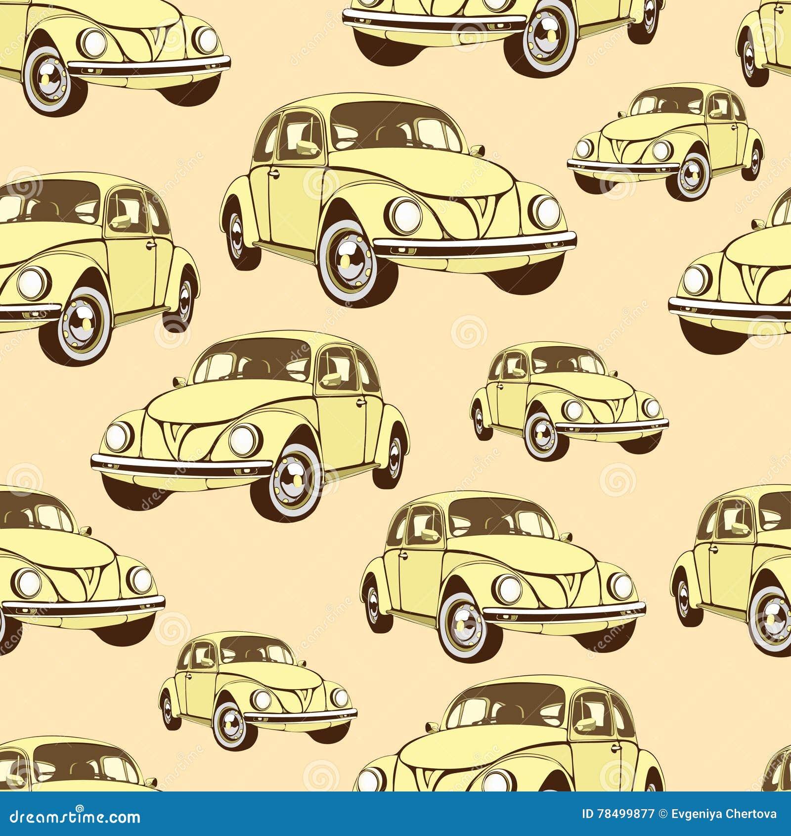 Vintage Car Seamless Pattern Retro Cartoon Background Yellow Cars