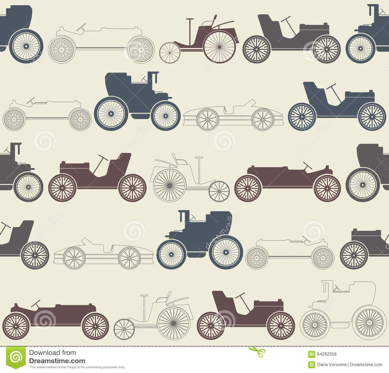 Vintage Car Seamless Pattern Stock Vector