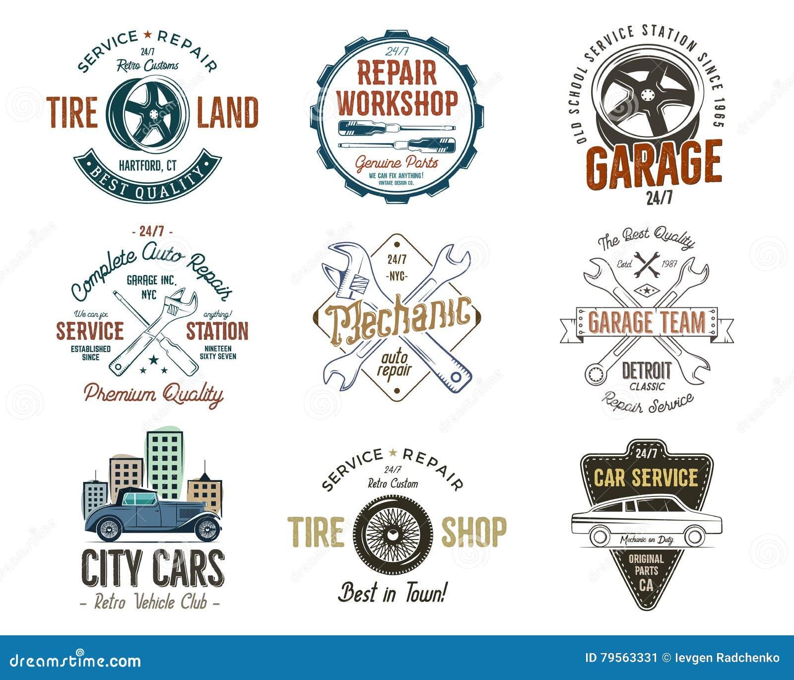 Design car repair workshop - Vintage Car Service Badges Garage Repair Labels And Insignias Collection Retro Colors Design