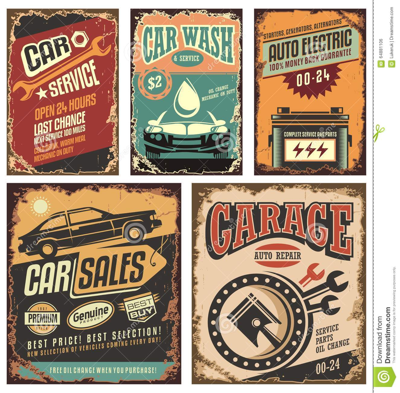 Vintage Tin Sign Automotive : Vintage car metal signs and posters vector illustration