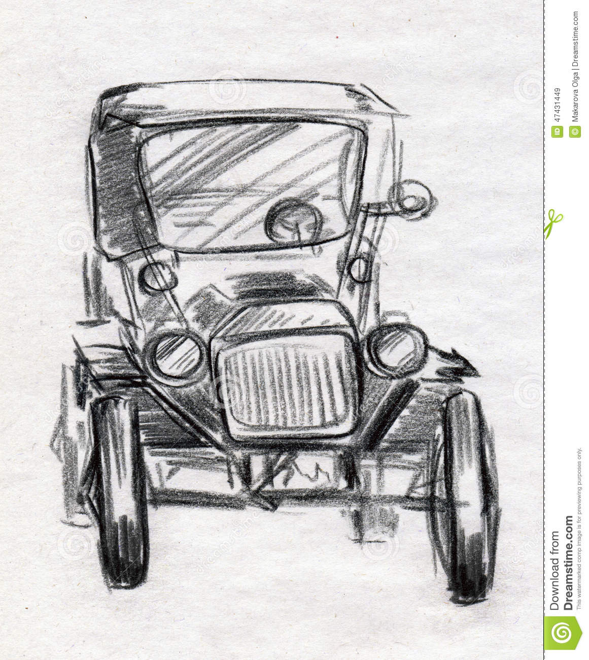 Vintage car sketch stock illustration illustration of artwork
