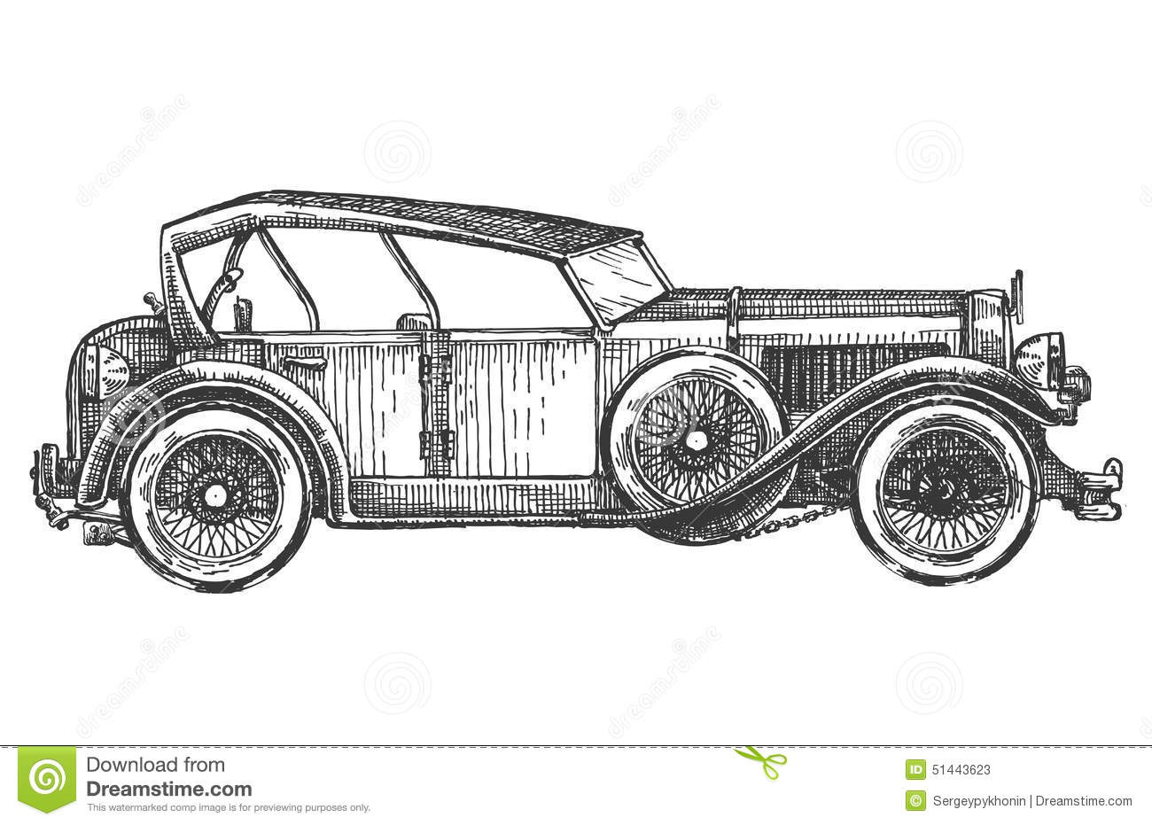 Vintage Car On A White Background Sketch Stock Illustration