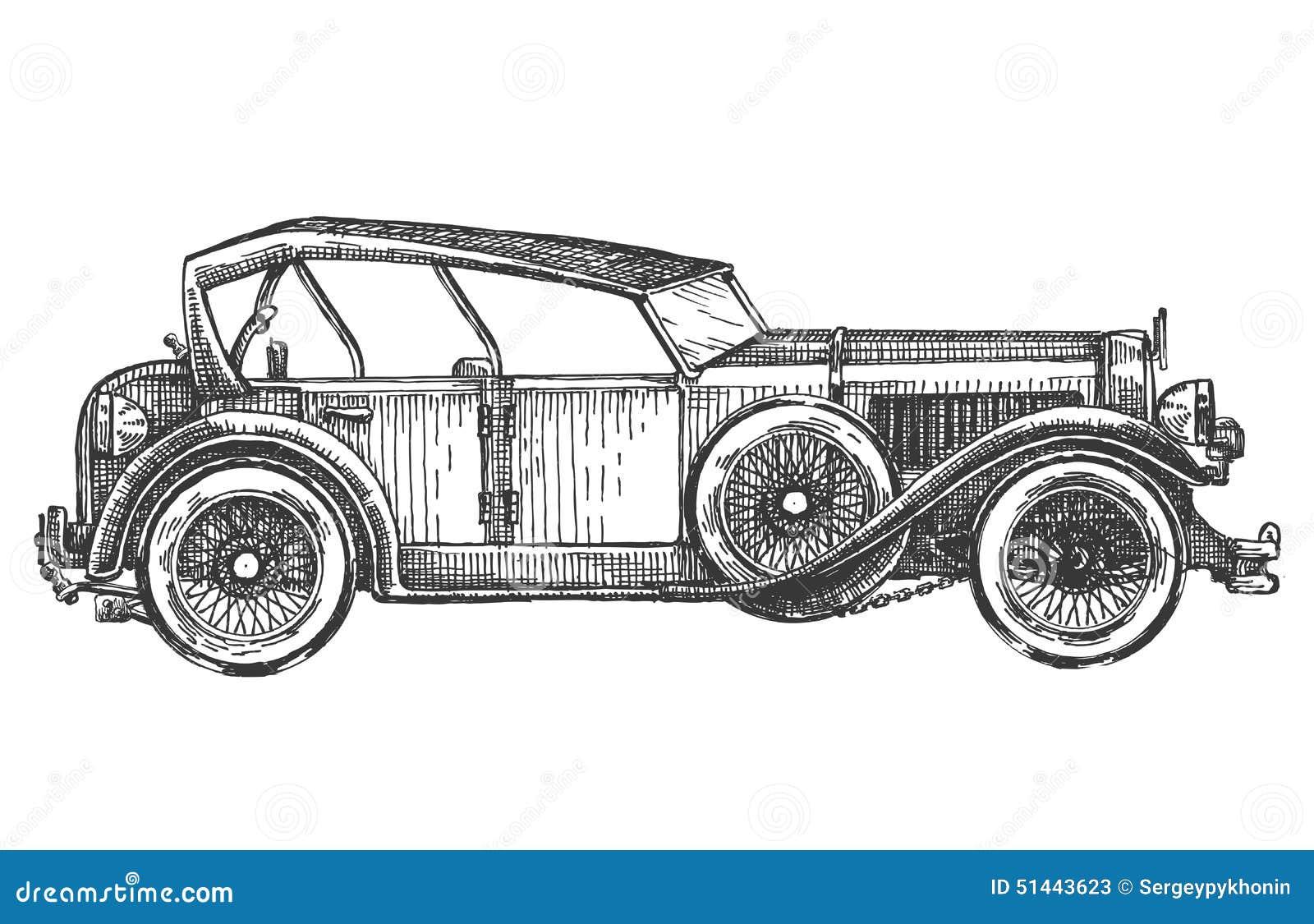 Vintage Car On A White Background. Sketch Stock Illustration ...