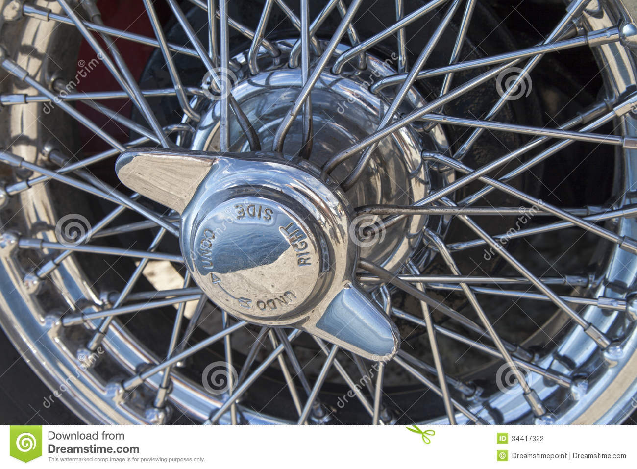 Vintage car wire wheels stock photo. Image of luxury - 34417322