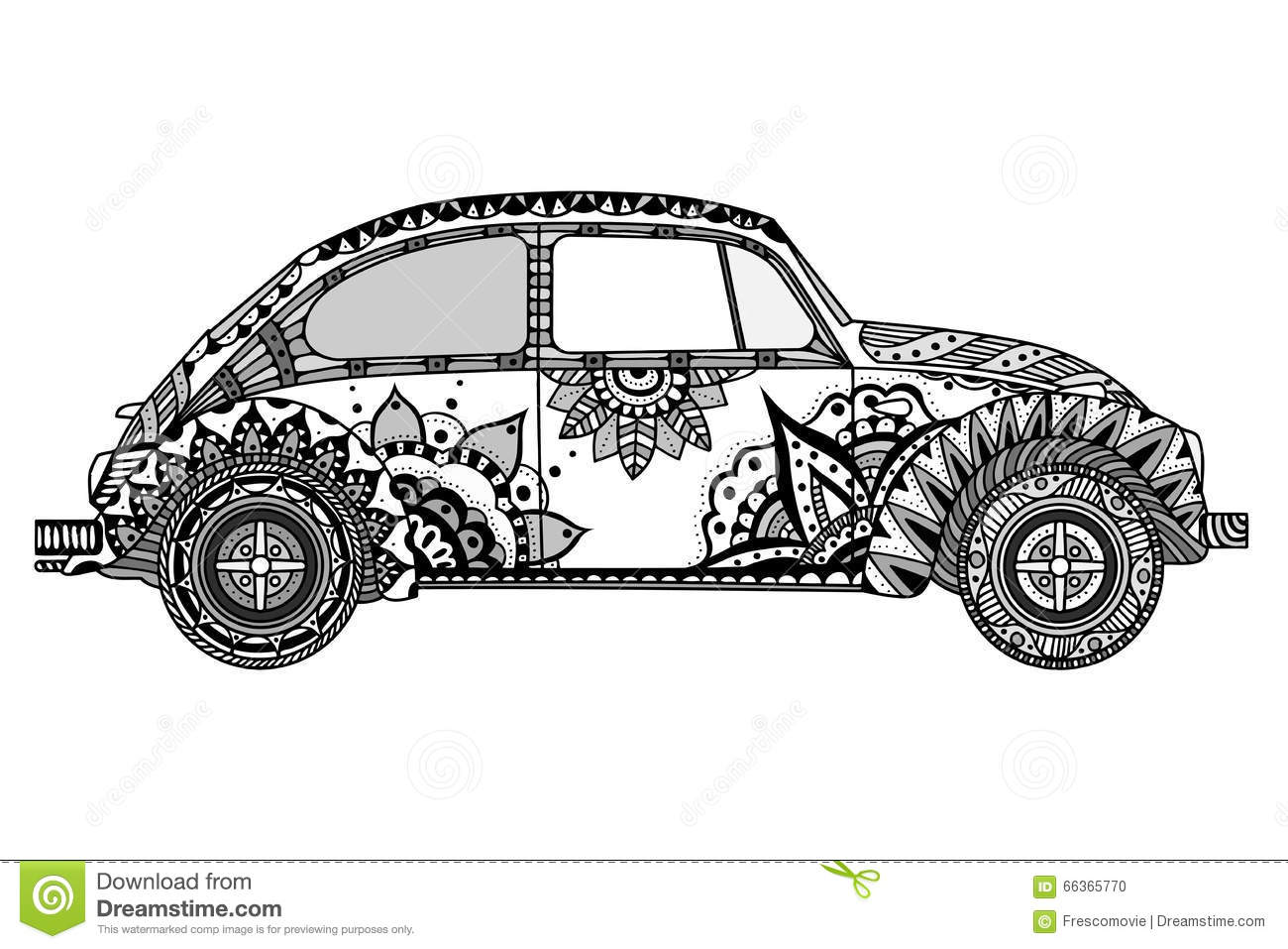 Vintage Car In Zentangle Style Stock Vector Image 66365770