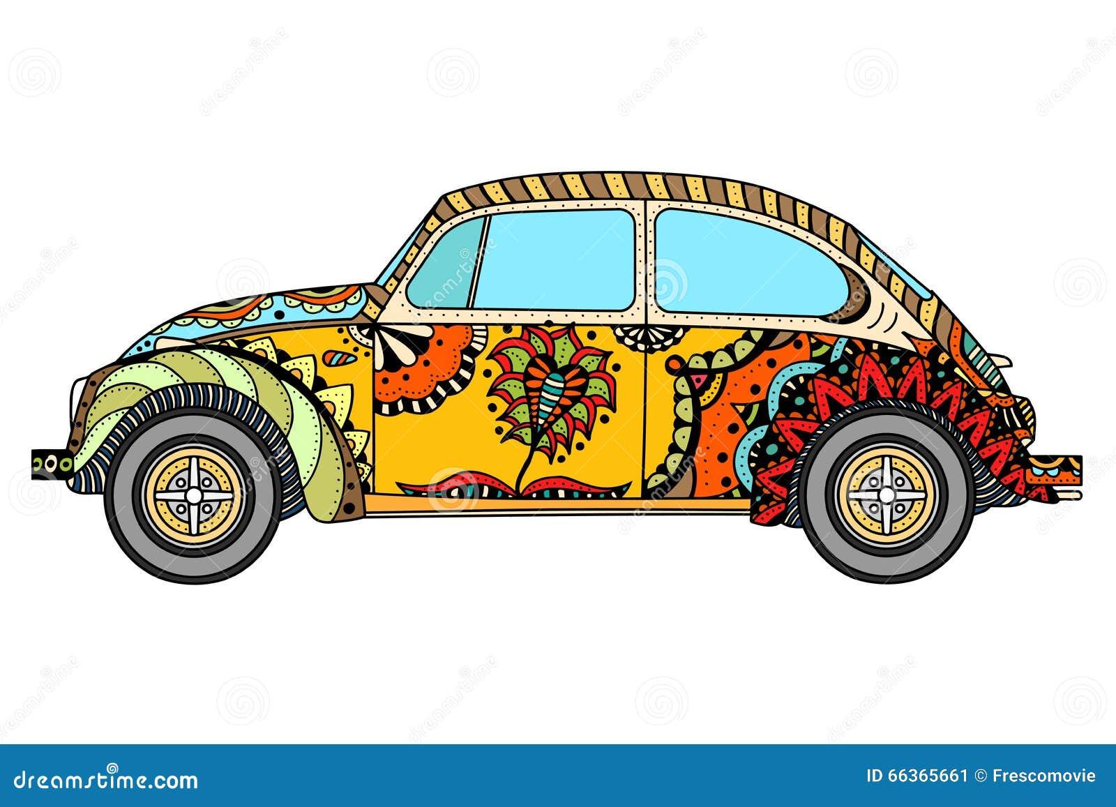 vintage car in zentangle stock vector illustration of power 66365661. Black Bedroom Furniture Sets. Home Design Ideas
