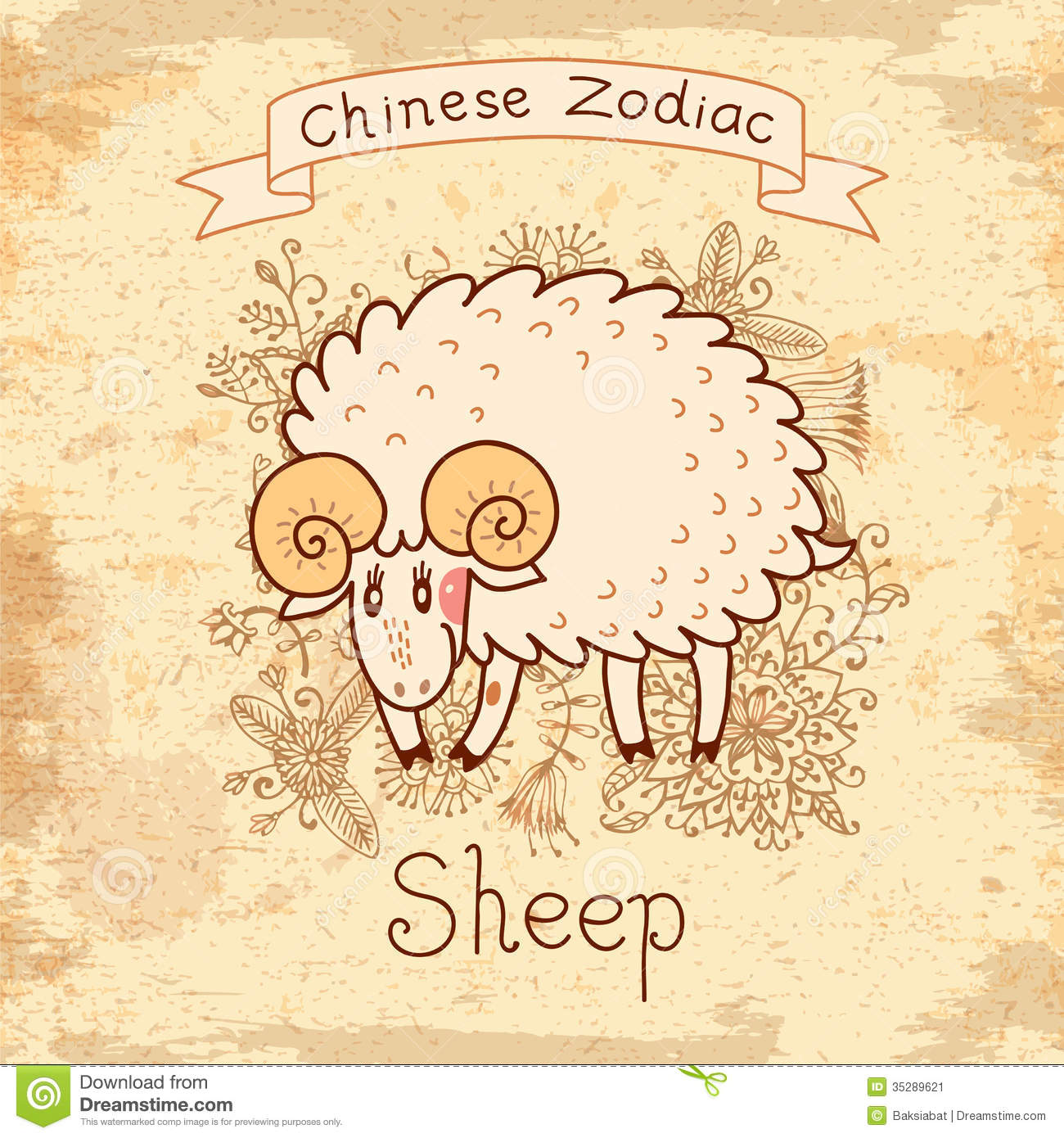 Vintage Card With Chinese Zodiac   Sheep Stock Image   Image  35289621